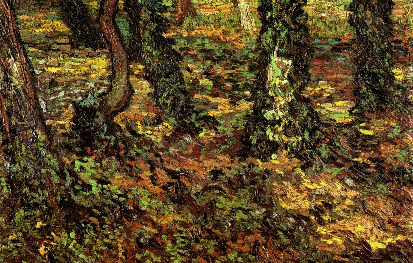 Photo wallpaper grass, trees, nature, Vincent van Gogh, Tree Trunks, with Ivy 2