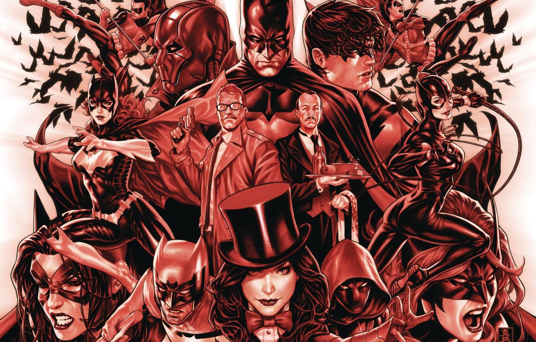 Photo wallpaper Red, Batman, Robin, Catwoman, Batgirl, Zatanna, Detective Comics