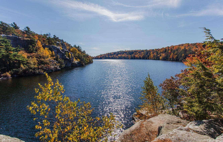 Photo wallpaper autumn, mountains, lake, photo, USA, Minnewaska Gardiner