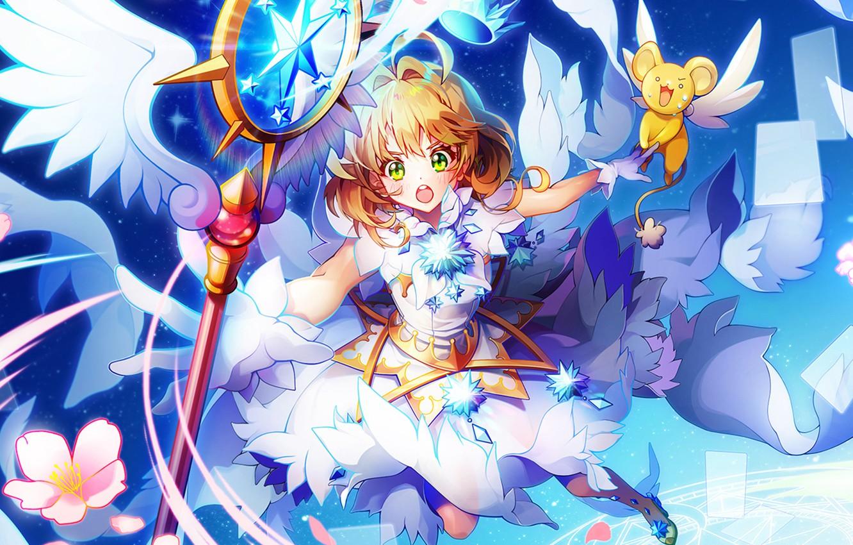 Photo wallpaper girl, anime, Card Captor Sakura, animal, Sakura - collector cards
