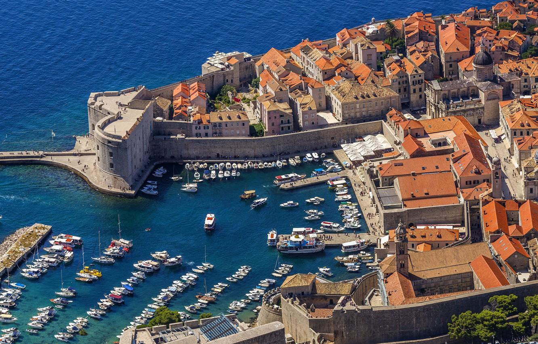 Photo wallpaper sea, the city, boats, Croatia, piers, Adriatica, Dubrovnik, Jadran