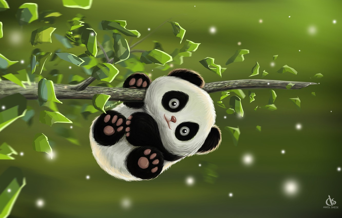 Photo wallpaper the game, baby, art, Panda, Desk, Amol Shede, Cute Panda