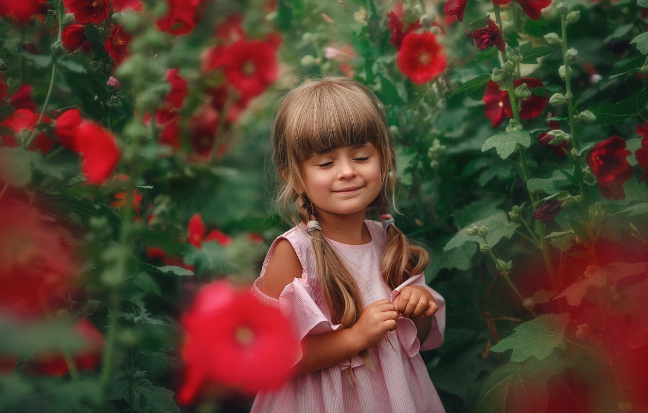 Photo wallpaper flowers, nature, smile, thickets, dress, girl, braids, child, mallow