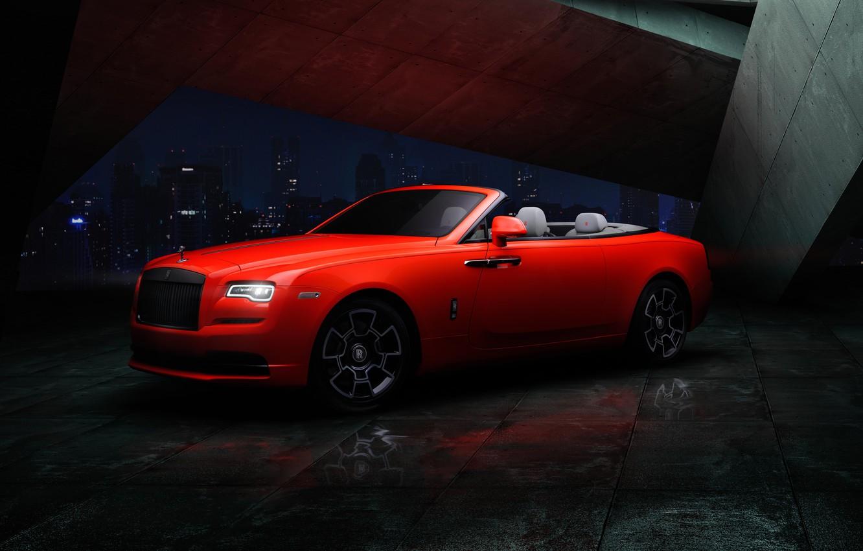 Photo wallpaper night, the city, Rolls-Royce, Dawn, Black Badge, 2021