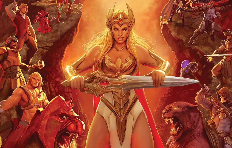 Photo wallpaper cartoon, warrior, powerful, strong, muscular, Masters of the Universe, She-Ra, He-Man, He Man, She-Ra Princess …
