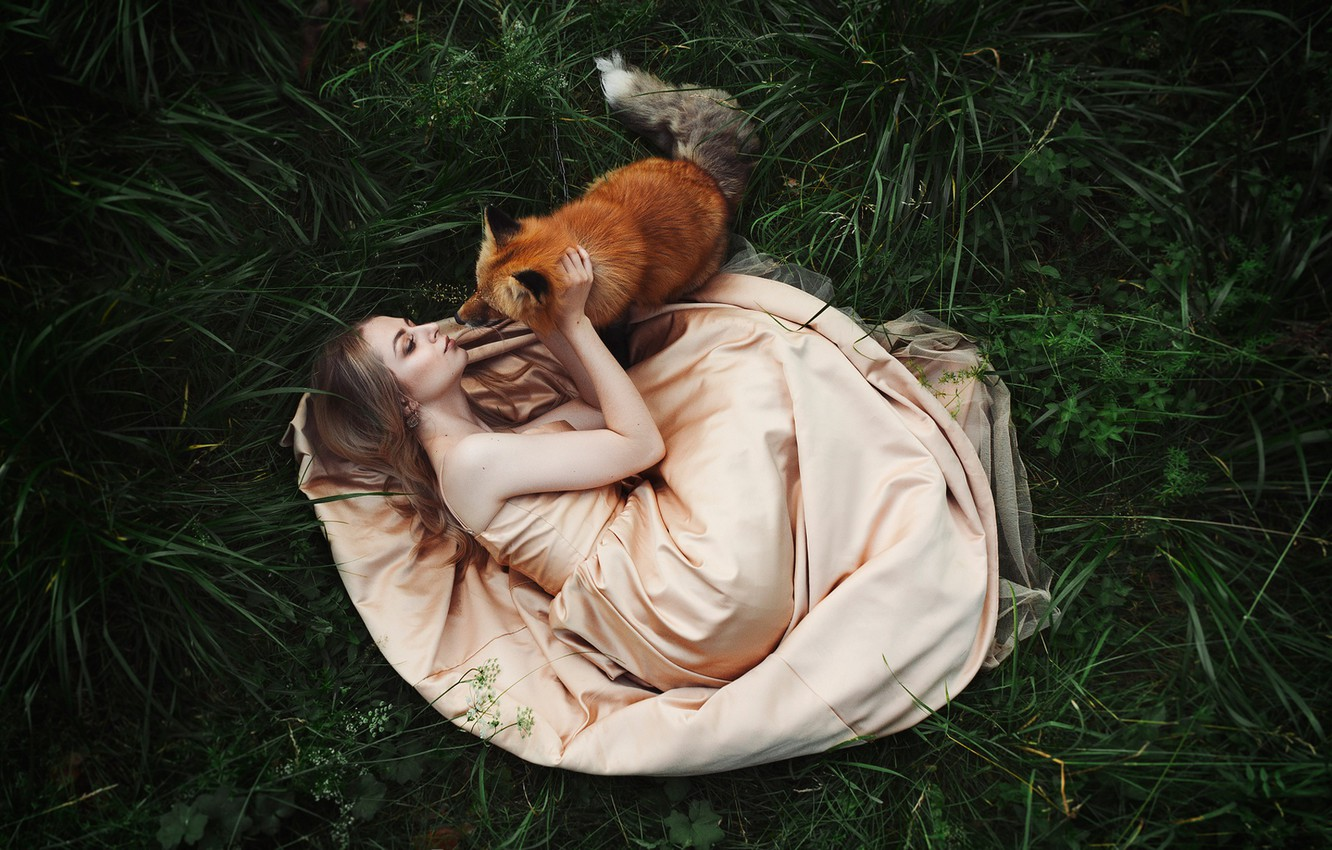 Photo wallpaper grass, girl, pose, mood, dress, friendship, Fox, red, friends, Karina, Zlobin Awesome, Valery Zlobin