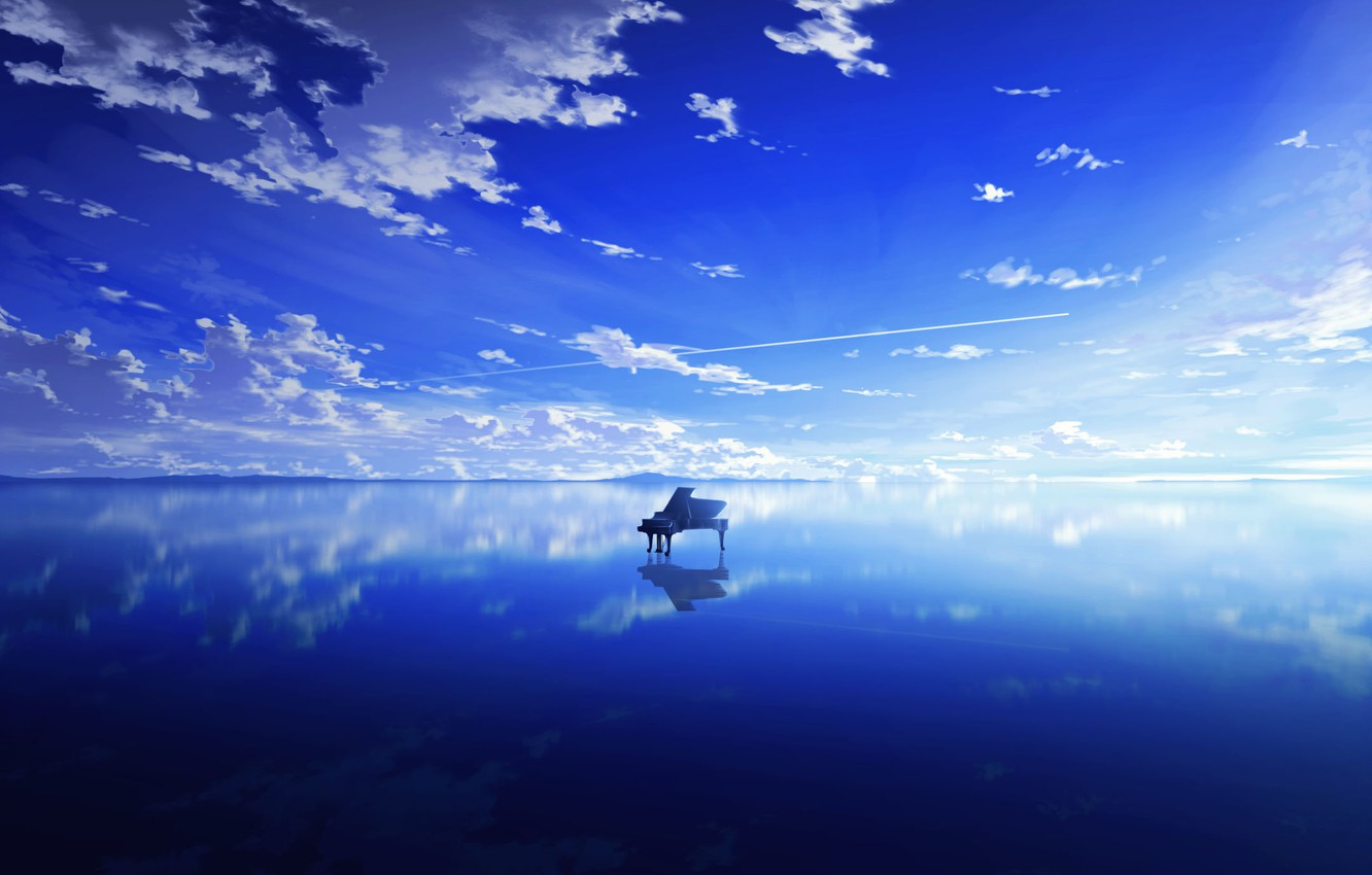 Photo wallpaper the sky, water, clouds, piano