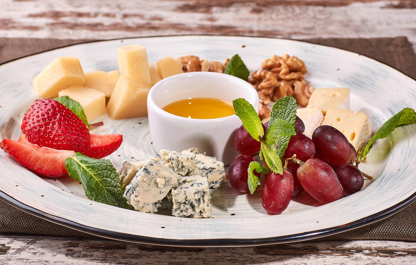 Photo wallpaper cheese, strawberry, honey, grapes, nuts, cuts