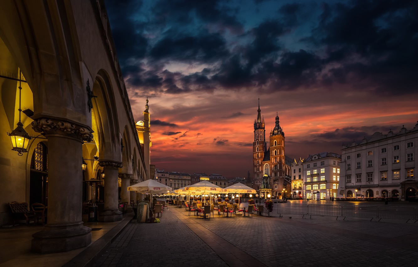 Photo wallpaper the city, building, home, the evening, lighting, area, Poland, umbrellas, cafe, tower, tables, the Church, …