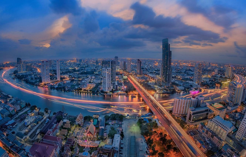 Photo wallpaper night, the city, lights, river, Thailand, Bangkok, Thailand, Bangkok