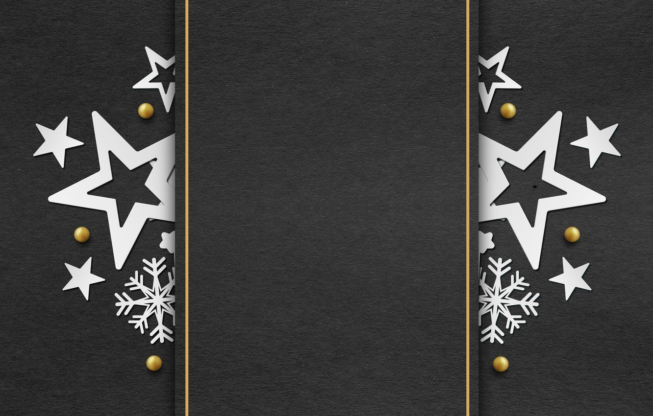 Photo wallpaper winter, snowflakes, golden, black background, black, Christmas, winter, background, stars, snowflakes