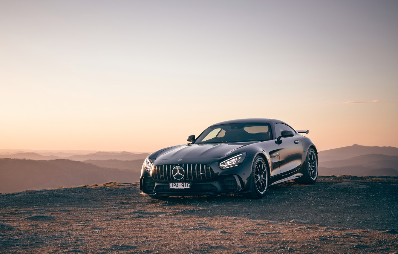Photo wallpaper sunset, Mercedes-Benz, the evening, AMG, AU-spec, GT R, 2019