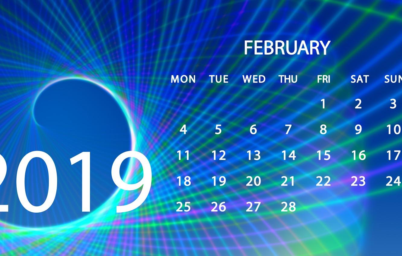 Photo wallpaper calendar, February, 2019