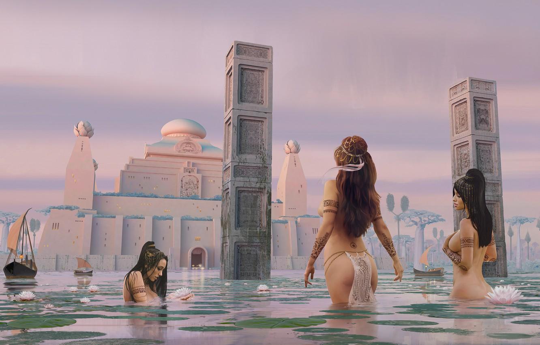 Photo wallpaper women, water, bathing, Lotus, tower