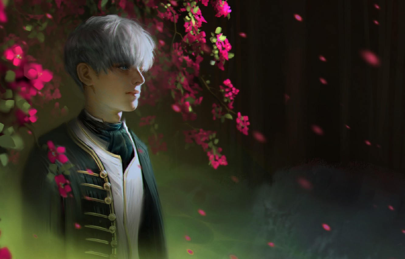 Photo wallpaper branches, tie, guy, white hair, military uniform, blurred background, bangs, flowering tree, lipesti