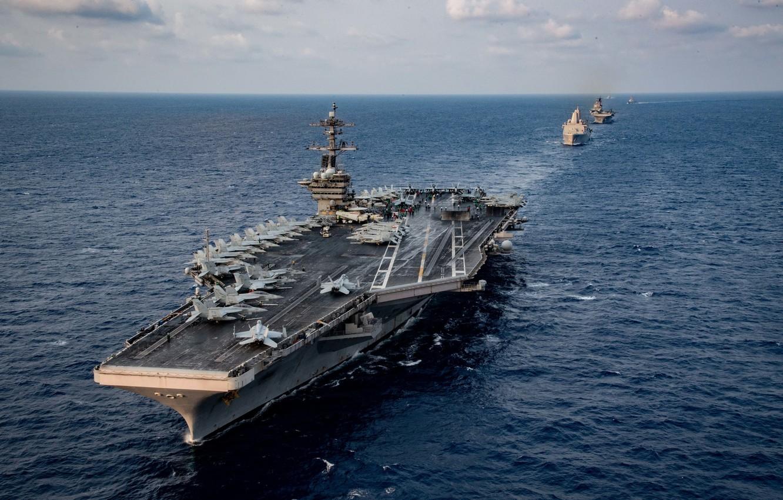 Photo wallpaper aircraft carrier, USS Theodore Roosevelt, CVN 71
