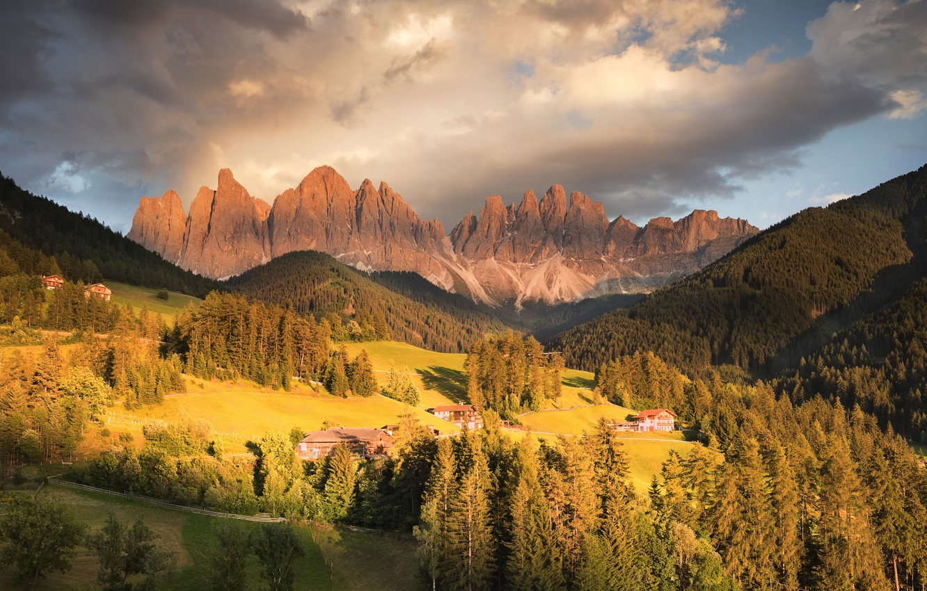 Photo wallpaper forest, mountains, photo, home, meadow, Italy