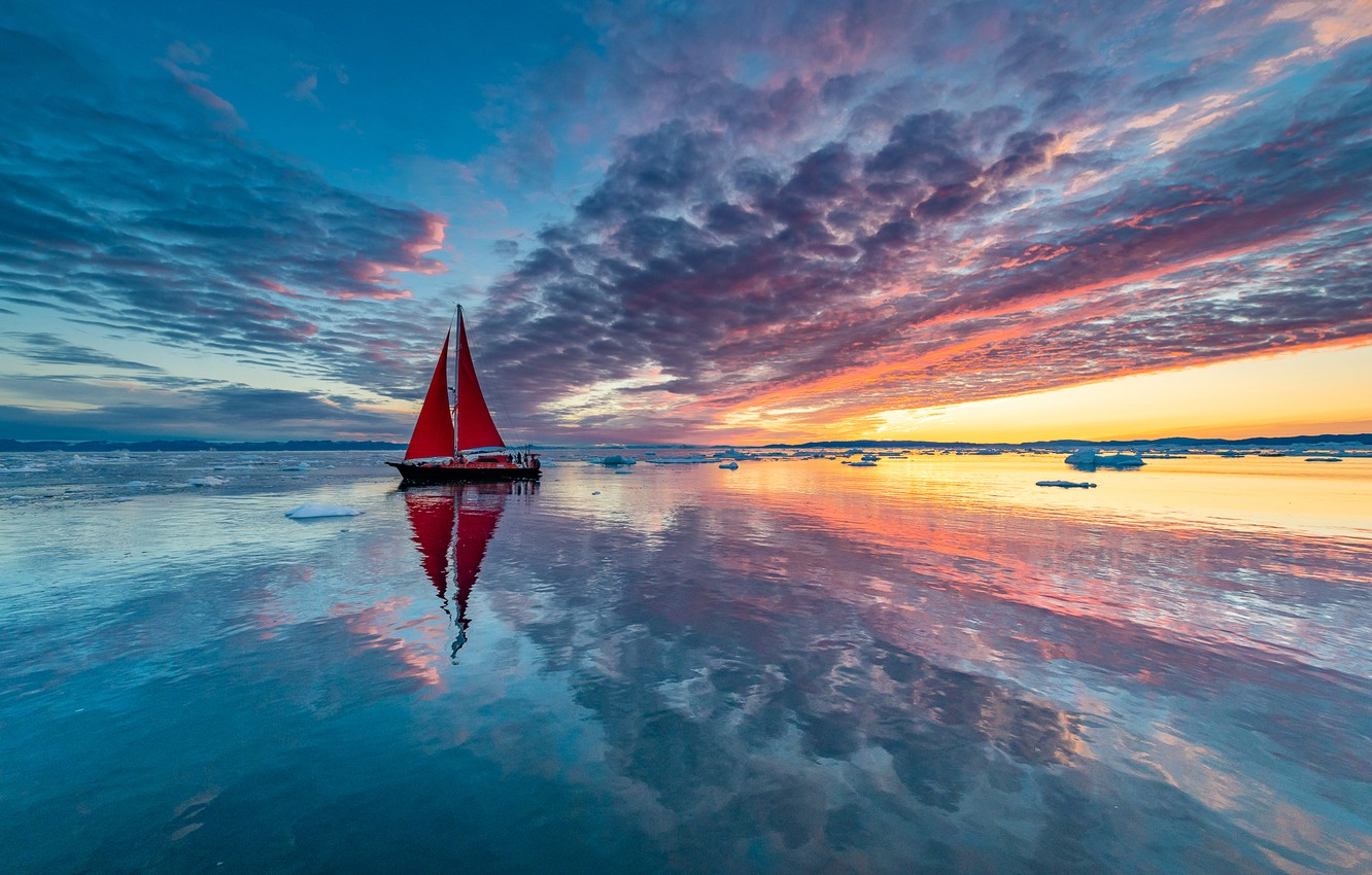 Photo wallpaper clouds, paint, boat, ship, sailboat, yacht, ice