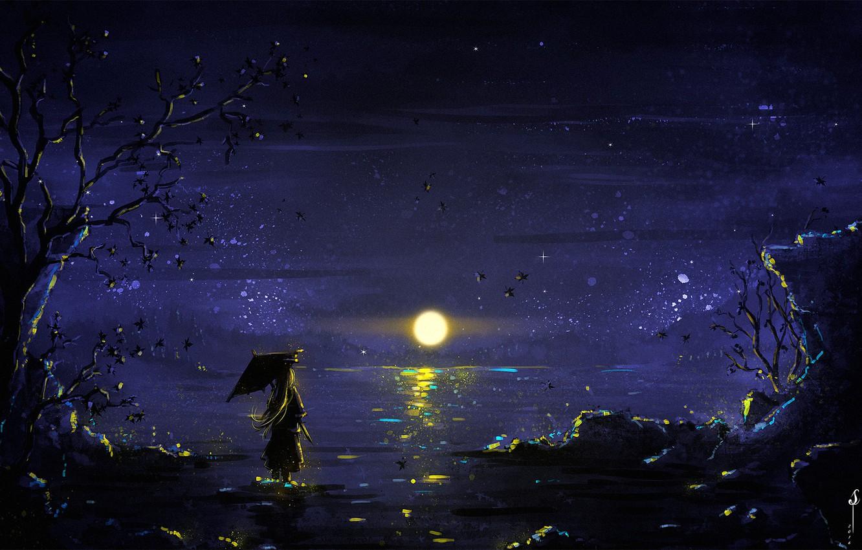Photo wallpaper girl, Moon, sky, trees, umbrella, night, art, lake, stars, reflection, digital art, artwork, illustration, painting …