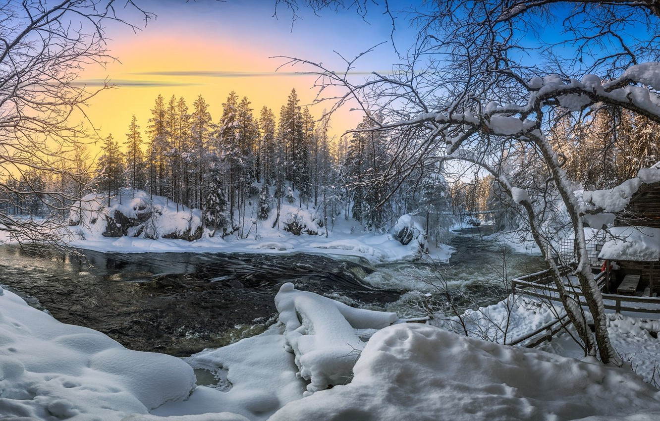 Photo wallpaper winter, snow, river, dawn, morning
