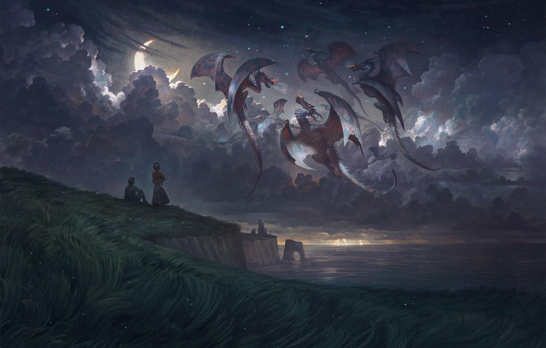 Photo wallpaper moon, grass, fantasy, sky, field, sea, landscape, coast, night, clouds, stars, artist, artwork, fantasy art, …