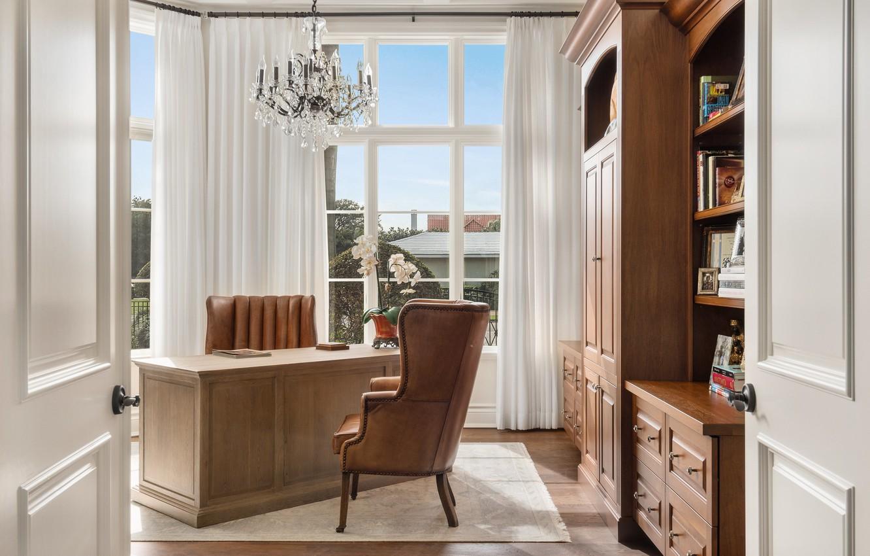 Photo wallpaper table, books, chair, chandelier, wardrobe, office