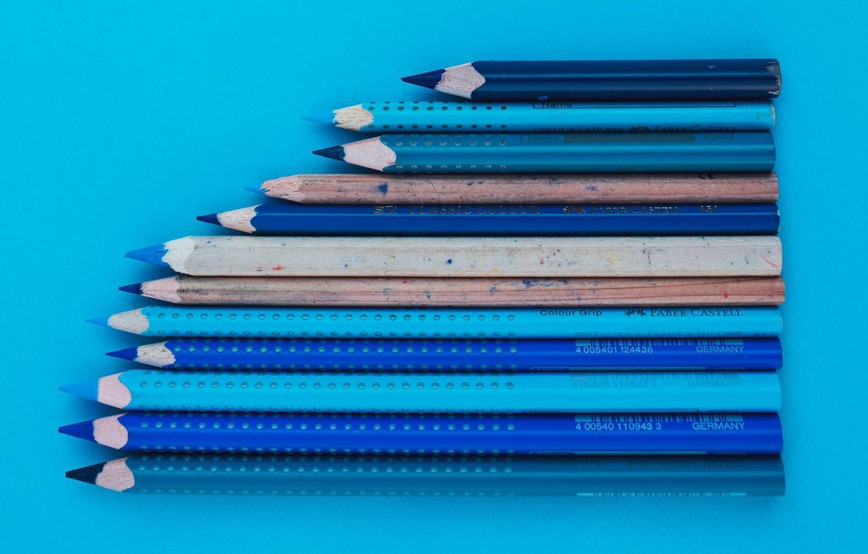 Photo wallpaper surface, blue, pencils, shades of blue, blue