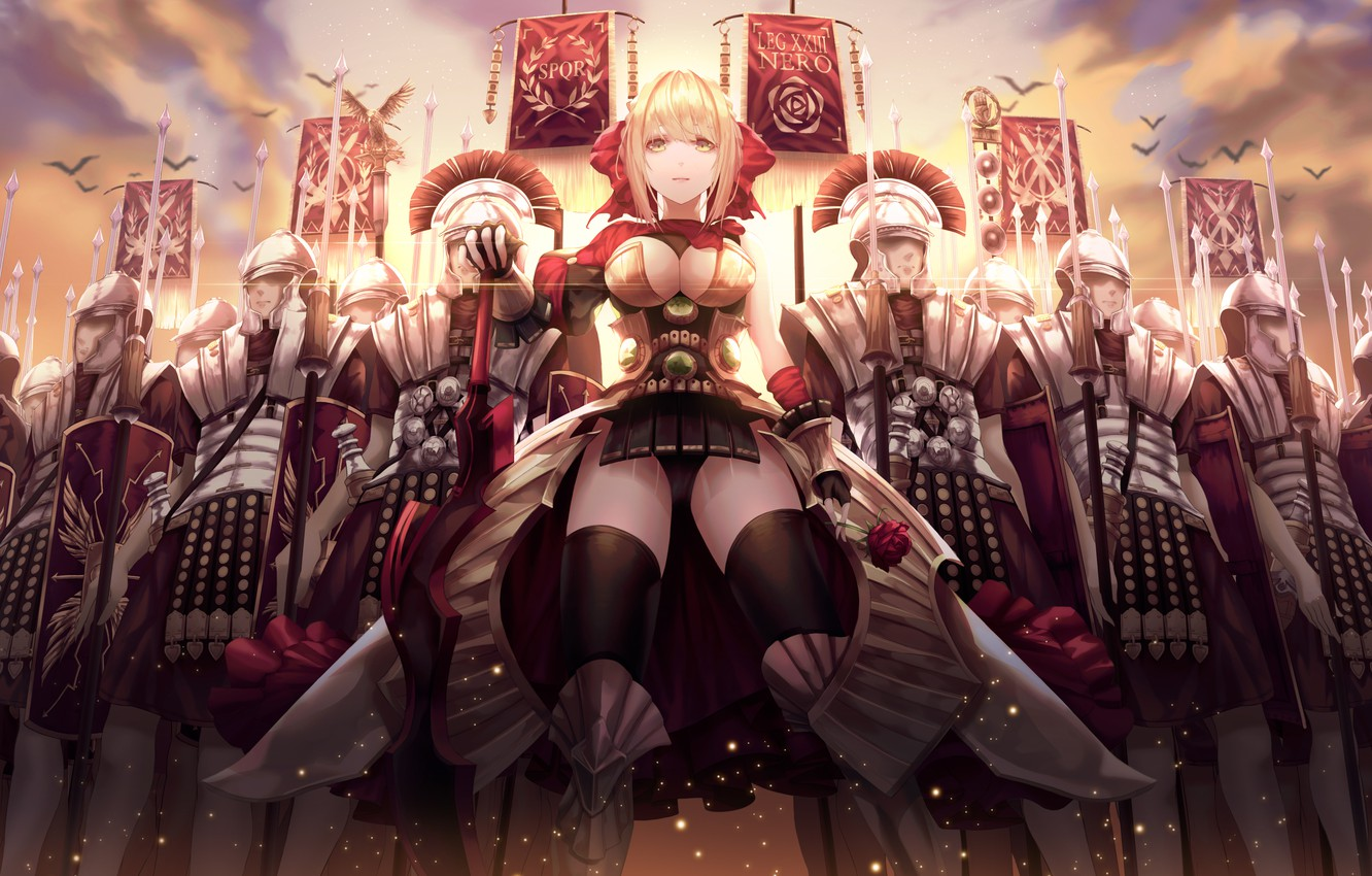 Wallpaper Girl Cleavage Soldiers Armor Breast Anime Army