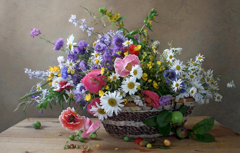Photo wallpaper summer, Mac, chamomile, bouquet