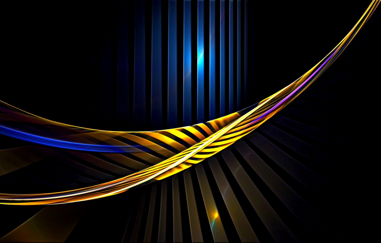 Photo wallpaper abstraction, rendering, Wallpaper, curves, black background, picture, the play of light, light lines, screensaver for …