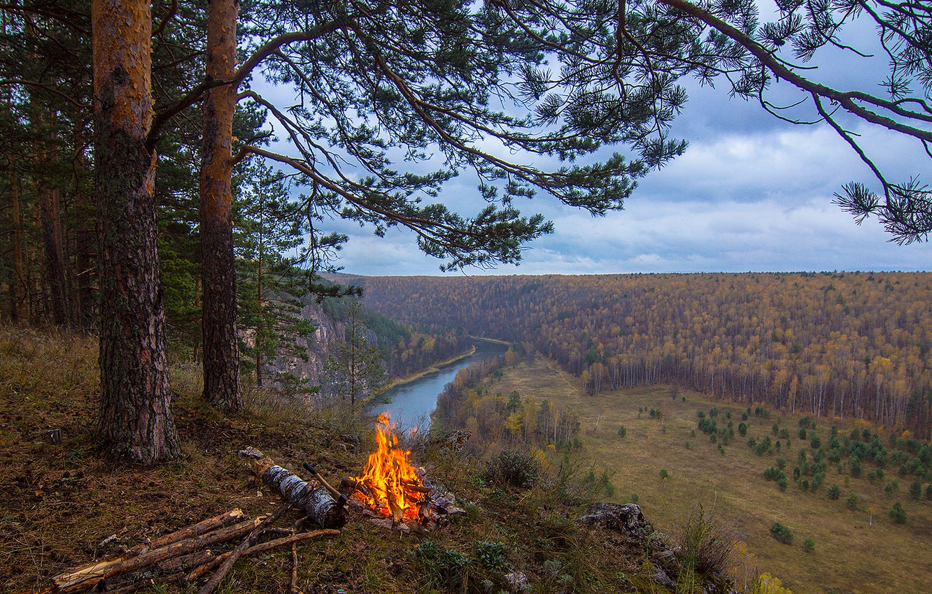 Photo wallpaper forest, the sky, grass, clouds, river, the fire, pine, tourists, hill