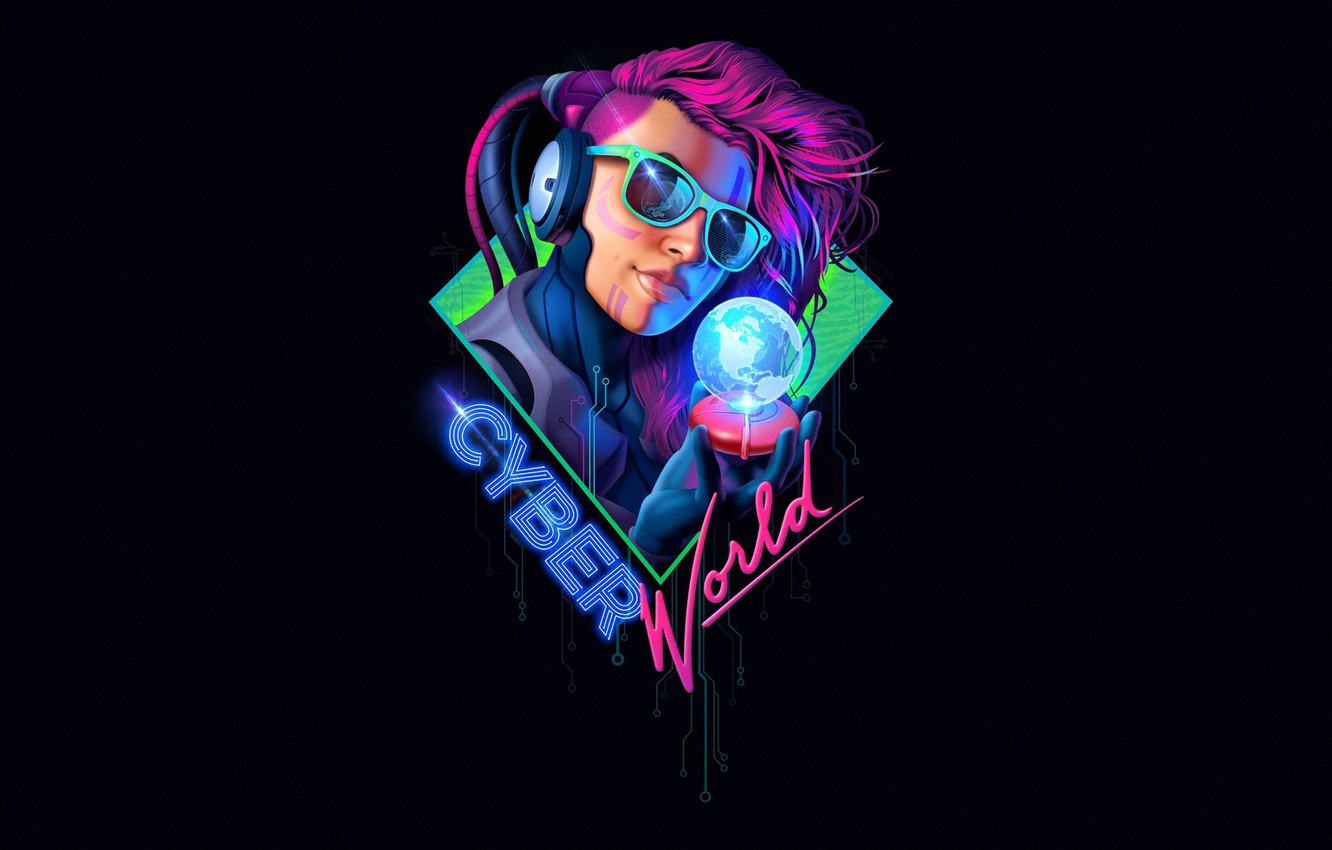 Photo wallpaper Girl, Minimalism, Music, Style, Background, Punk, Android, Art, Art, 80s, Robot, Style, Neon, Digital Art, …