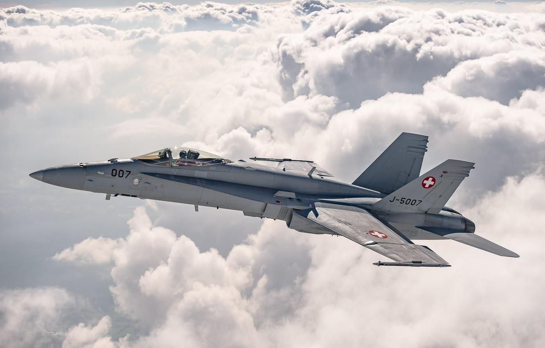 Photo wallpaper Clouds, Fighter, Pilot, The Swiss air force, F/A-18 Hornet, Cockpit, PTB