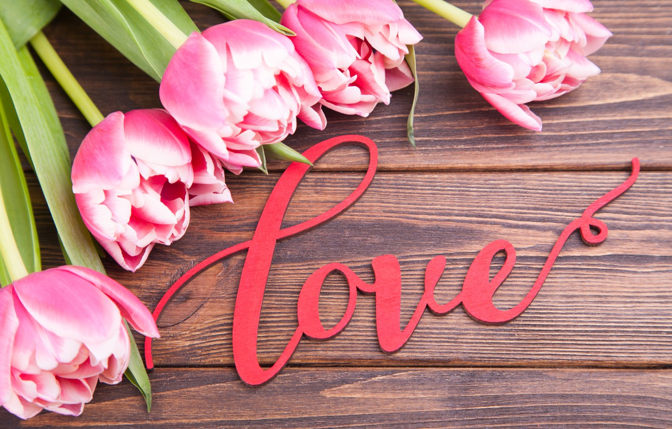 Photo wallpaper love, flowers, bouquet, tulips, love, pink, pink, flowers, beautiful, romantic, tulips, valentine's day, spring