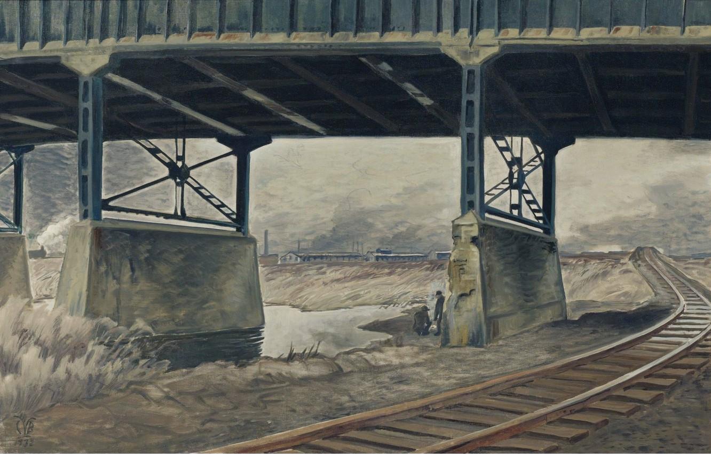 Photo wallpaper 1932, Charles Ephraim Burchfield, Under the Viaduct