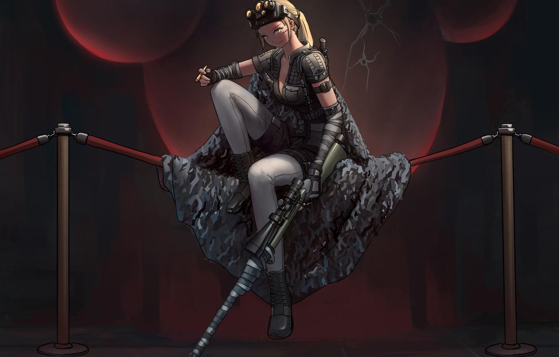 Photo wallpaper Girl, Fantasy, Gun, Beautiful, Art, Style, Illustration, Weapon, Sniper Rifle, Figure, Character
