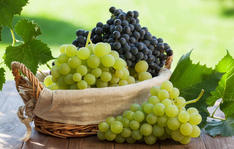 Photo wallpaper leaves, grapes, basket