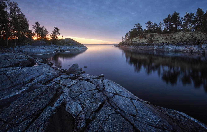 Photo wallpaper trees, landscape, nature, lake, stones, Lake Ladoga, Ladoga, Skerries