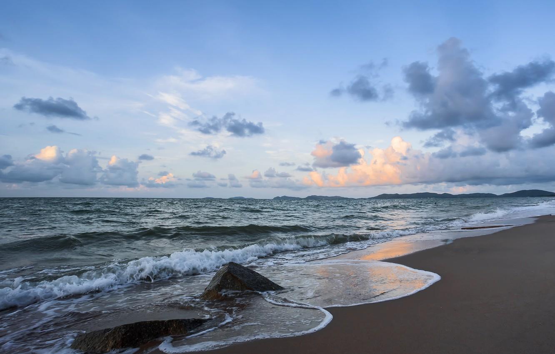 Photo wallpaper sand, sea, wave, beach, summer, sunset, summer, beach, sea, sunset, blue, seascape, sand, wave