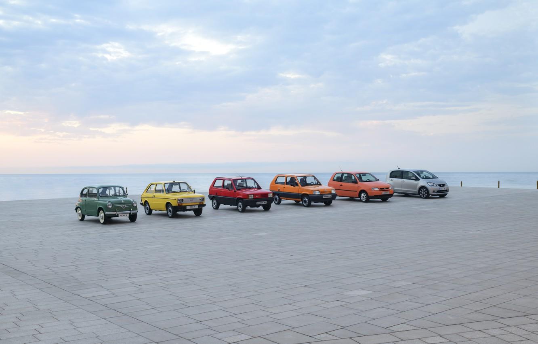 Photo wallpaper sea, sunset, city car, seat mii