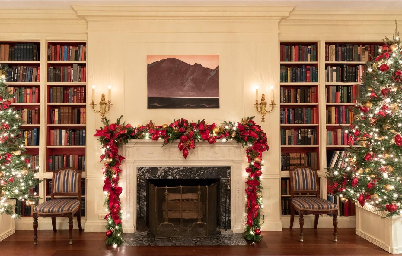 Photo wallpaper Christmas, Washington, New Year, interior, books, White House