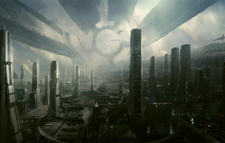 Photo wallpaper graphics, The city, the city of the future, Hi Tech, Town, Cities, art, Hi-Fi
