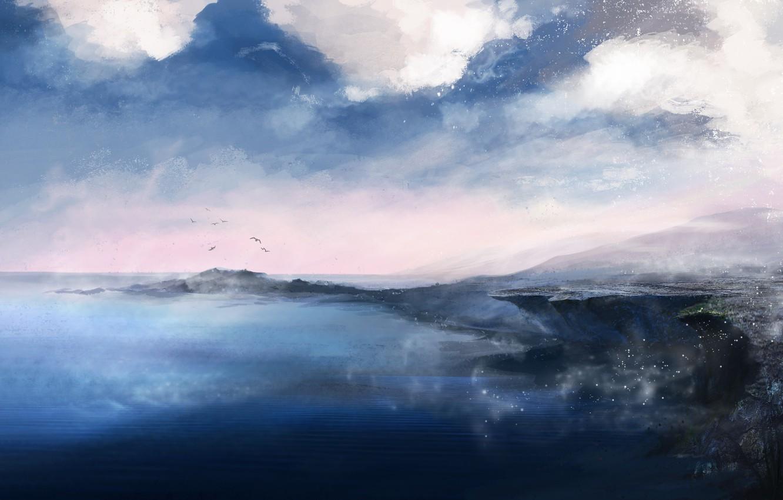 Photo wallpaper Sea, Figure, Shore, Earth, Fantasy, Landscape, Art, landscape, Concept Art, by Katia Lin, Promenade Orc, …