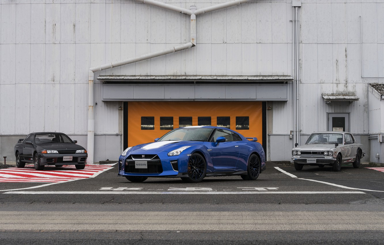 Photo wallpaper blue, coupe, Nissan, GT-R, R32, Skyline, R35, 50th Anniversary Edition, KPGC10, 2020, 2019, at the …