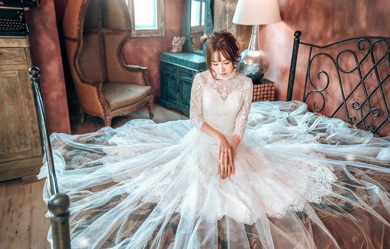 Photo wallpaper girl, pose, style, room, sweetheart, white, furniture, lamp, bed, interior, chair, hands, dress, bed, outfit, …