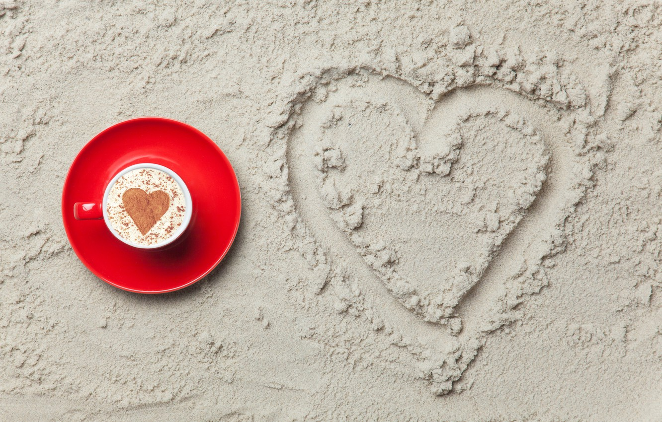 Photo wallpaper sand, love, heart, love, heart, romantic, sand, coffee cup, a Cup of coffee