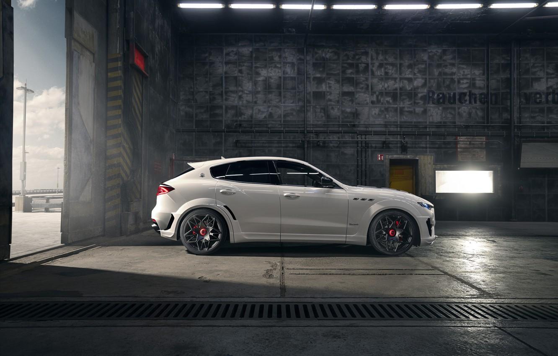 Photo wallpaper Maserati, side view, crossover, Rosso, Novitec, 2020, Q4, GranSport, Levante S, Extended V2