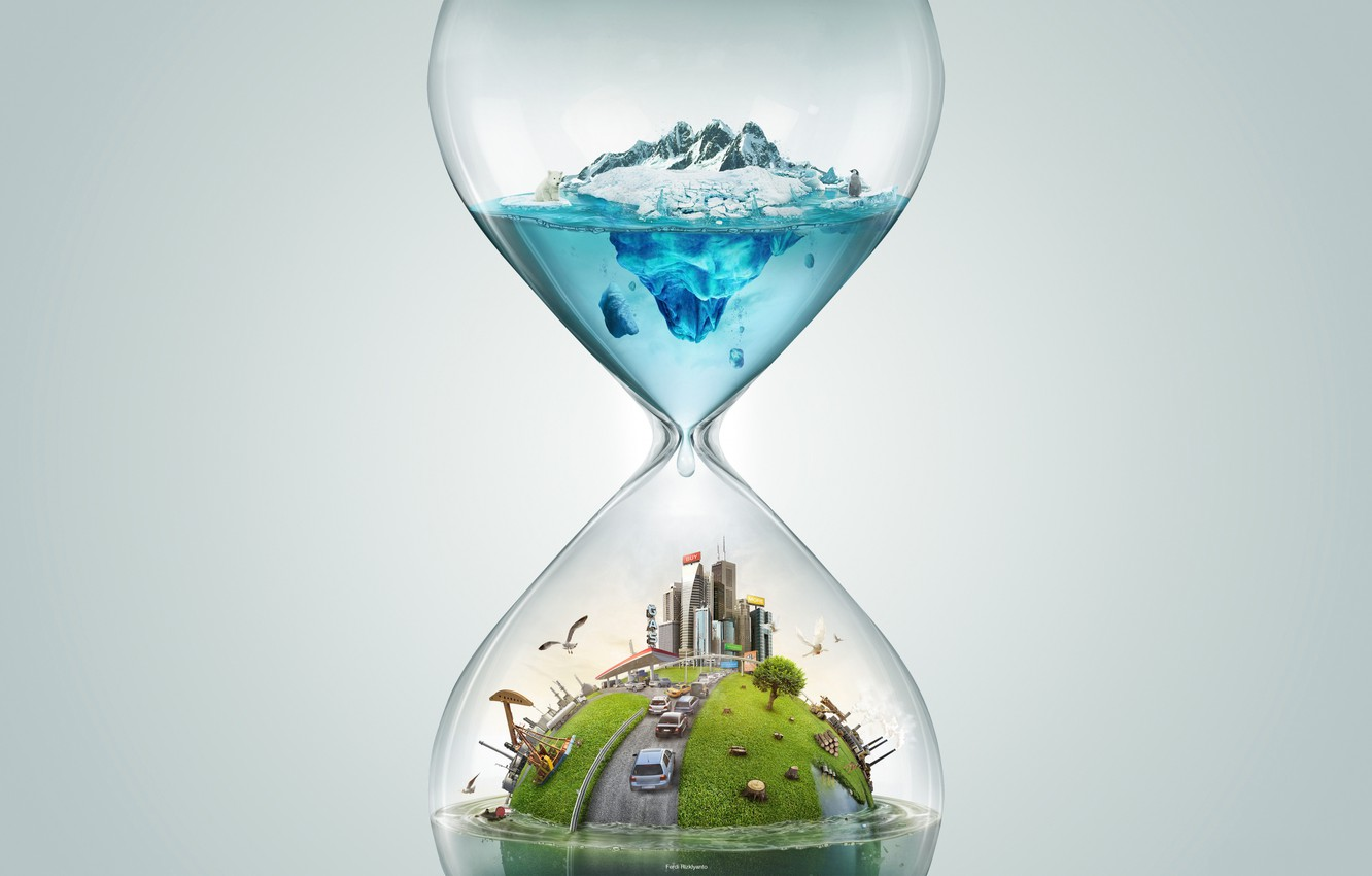 Photo wallpaper time, travel, rendering, hourglass