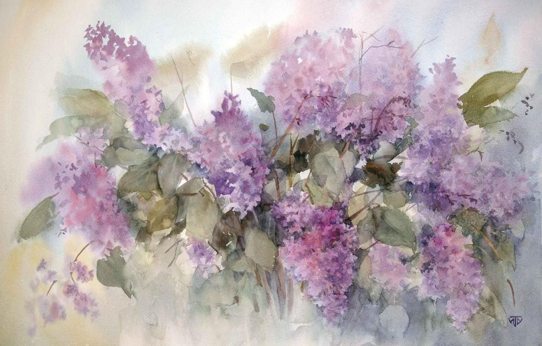 Photo wallpaper figure, picture, watercolor, painting, lilac, spring flowers, artist Irina Tarasova