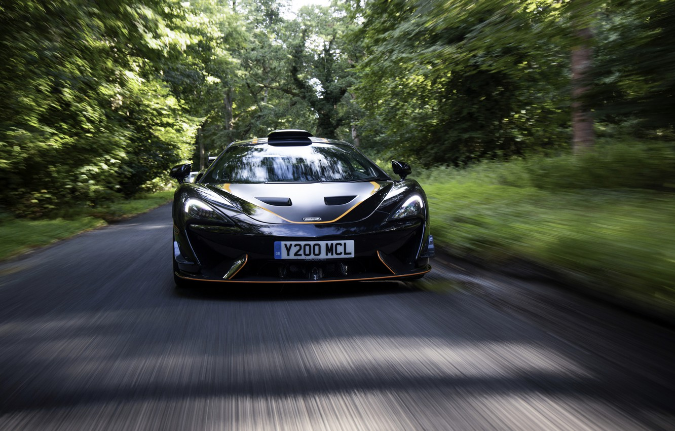 Photo wallpaper black, coupe, McLaren, in motion, 2020, V8 twin-turbo, 620R, 620 HP, 3.8 L.